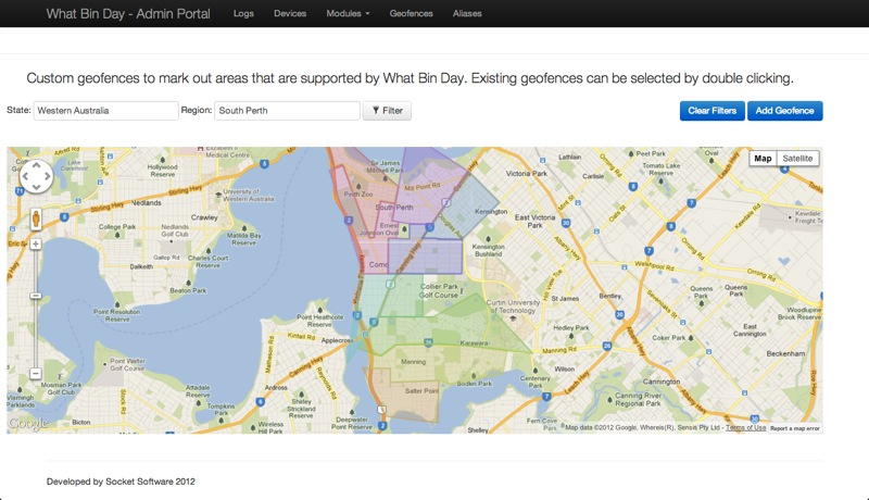 Google maps integration to provide geofencing of council bin collection areas